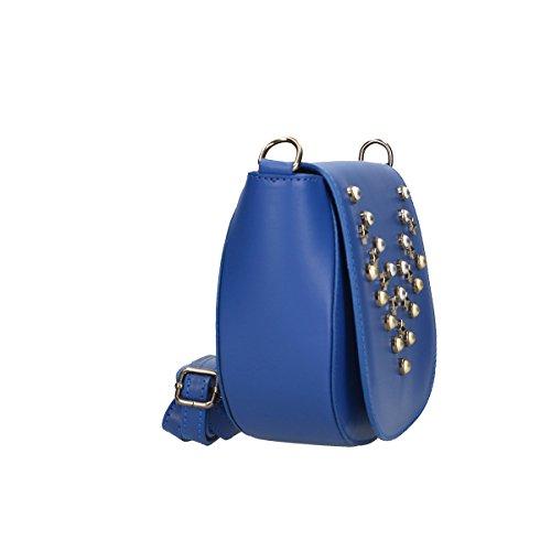 Chicca Borse Borsa a tracolla in pelle 20x17x7 100% Genuine Leather Blue