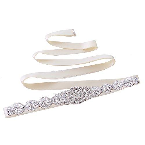 TOPQUEEN Strass des femmes ceinture ceintures ceintures Bridal Sash de mariage pour mariage (Elfenbein)