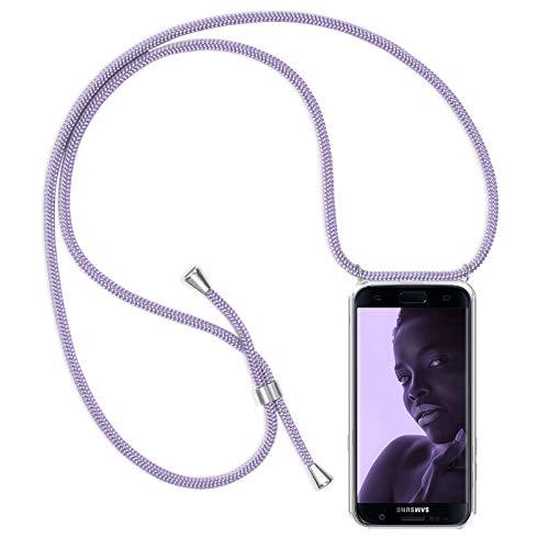ZhinkArts Handykette kompatibel mit Samsung Galaxy S7 - Smartphone Necklace Hülle mit Band - Schnur mit Case zum umhängen in Lila
