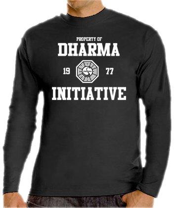 Touchlines - Maglia da ragazzo, motivo: Progetto Dharma della serie televisiva Lost, disponibile in colori vari, taglia da S a XXXL Nero - nero