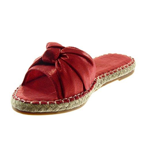 Angkorly Scarpe Moda Sandali Mules Slip-On Donna Nodo Corda Lucide Tacco a Blocco 2 cm Rosso