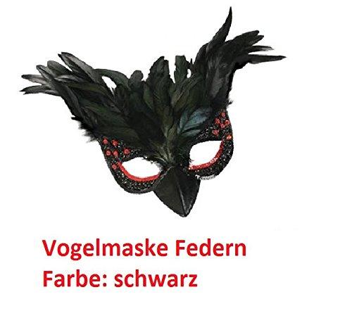 Raben Kostüm Maske - Vogelmaske Federn, Karneval, Fasching, Mottoparty (schwarz)