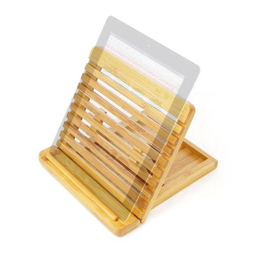 Preisvergleich Produktbild Verstellbare iPad Halterung/Ständer Desktop Organizer. Hergestellt aus umweltfreundlichem nachhaltigem Bambus natur Holz