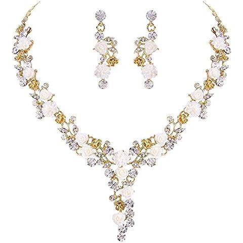 EVER FAITH® gold-tone sacco austriaco cristallo bianco camelie nuziali della collana orecchini set