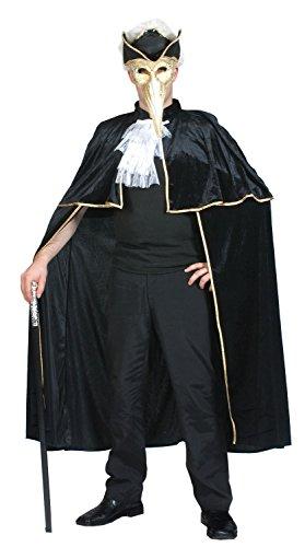 Mens Ladies Black Venetian Cape Carnival Halloween Velvet Fancy Dress Costume (One Size)