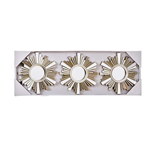 Home Gadgets Espejo de Pared Redondo Juego 3 Unidades Color Champagne Sol Decorativo para Salon, Habitacion...