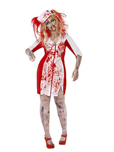 Kostüm Adult Krankenschwester Nacht - Smiffys, Damen Zombie-Krankenschwester Kostüm, Kleid mit Kopfbedeckung,  Größe: L, 44340