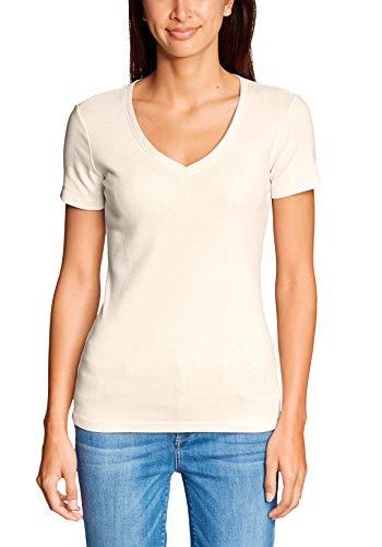 Eddie Bauer Damen Favorite Shirt - Kurzarm mit V-Ausschnitt - Uni, Gr. L (42/44), Hafer meliert - Bauer Kurzarm-shirt