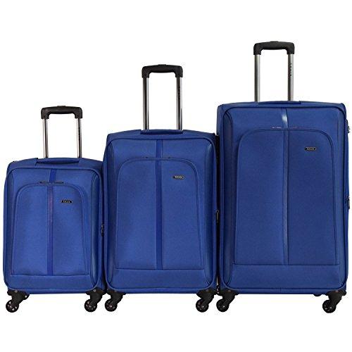 SHAIK Serie SOMLA Design BSL 3 Größen M | L | XL | Set | Softcase Weichgepäck Kofferset, 4 Doppelrollen, Zahlenschloss (3er Set, Grau)