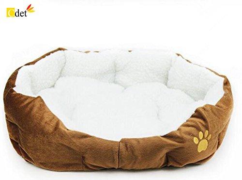 Cdet Cama para mascotas redonda o de forma oval dimple fleece nesting perro cueva para gatos y perros pequeños,46cm*42cm,Café