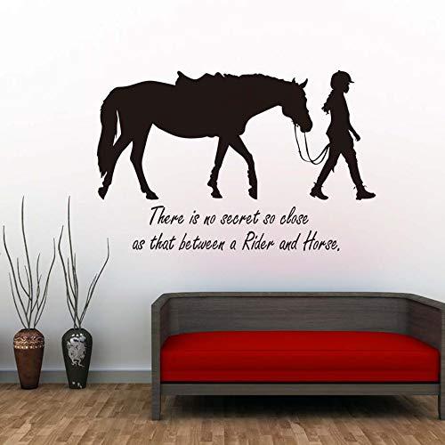 ziweipp Es gibt kein Geheimnis so nahe, DASS Mädchen und Pferd Wandaufkleber Zitate abnehmbare Vinyl abnehmbare Transfer Aufkleber Zimmer Schablone Wandbild Dekor 89 * 58 cm - Dekor Mädchen Für Pferd Zimmer