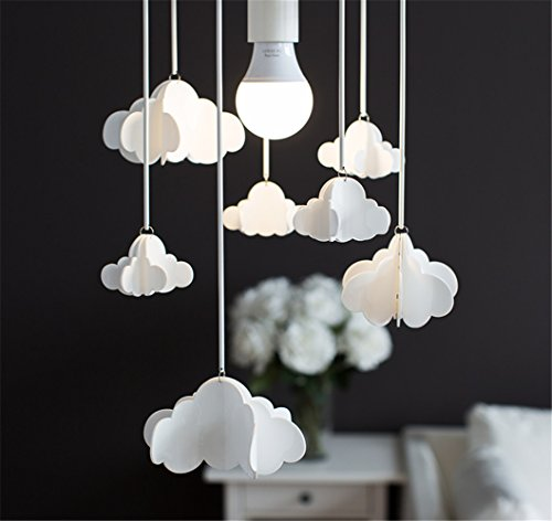 Nordic Weiß Wolken Schlafzimmer Licht Decke Continental Moderne Einfache Creative Junge Mädchen Kinderzimmer Schlafzimmer Restaurant Aisle Kronleuchter (weiß) -