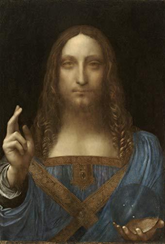 Toperfect 50 €-2000€ handgefertigte Ölgemälde - Leonardo da Vinci Salvator Mundi 1500 Gemälde auf Leinwand italienisches Meisterwerk Kunst Werk Ölmalerei - Malerei - Maße12