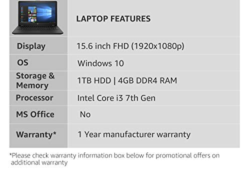 HP 15 Intel Core i3 7th gen 15.6-inch FHD Laptop (4GB/1TB HDD/Windows 10 Home/Sparkling Black /2.04 kg), 15q-ds0006TU
