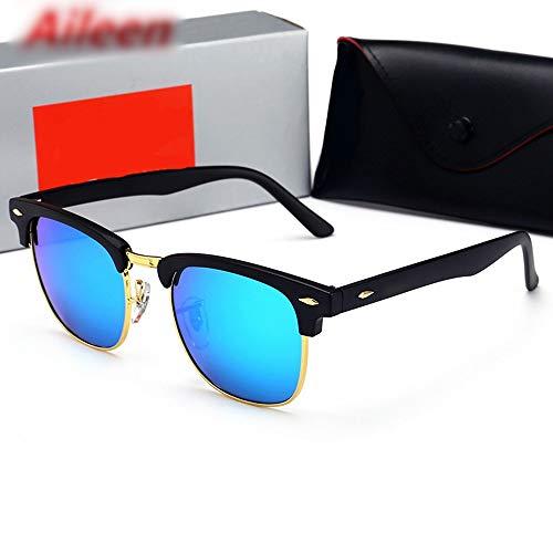 FORTINGBAR Classic Rivet Semi-Metal-Sonnenbrille für Damen/Herren Herren Sonnenbrille Polarized Retro Classic Half Frame Sonnenbrille Damen Vintage (Farbe : Schwarz Blau)