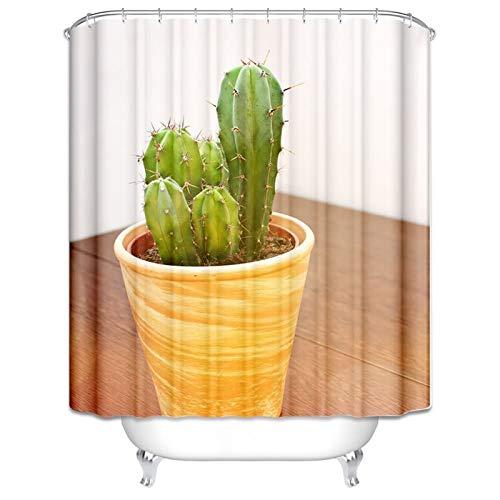 DOLOVE Duschvorhang Antischimmel Wasser Kaktus Topfpflanzen Duschvorhang 165x200 cm...