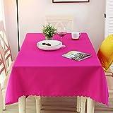 Nclon Volltonfarbe Polyester Tischdecke Tischtuch tischwäsche, Ideal für Buffet-Tisch, Auf Hochzeiten oder, Weihnachtsessen, In Ihrem Zuhause, Bankett-danksagung-Rose Red Durchmesser 200cm