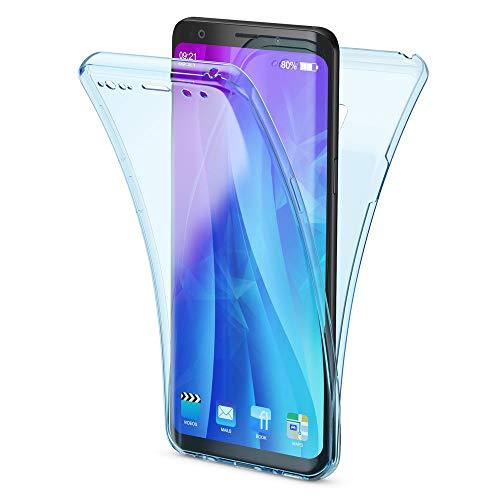 NALIA 360 Grad Hülle kompatibel mit Samsung Galaxy S9, Full Cover vorne und hinten R&um Doppel-Schutz, Dünnes Ganzkörper Case Silikon Etui, Transparenter Bildschirmschutz und Rückseite, Farbe:Blau