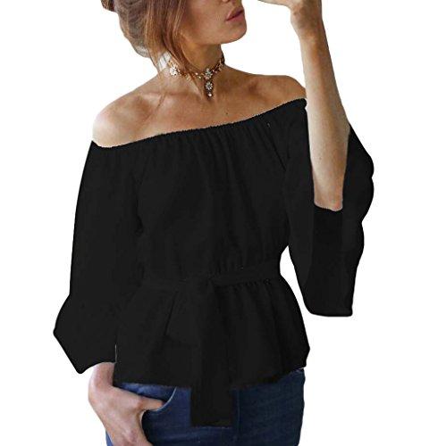 Bigood Femme Casual Cou Horizontale T-shirt à Volants Manches Chauve-souris Noir