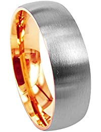 Everstone Women Wedding Band Titanium Ring Dome Shape Polished Anniversary Engagement Ring Rose Gold Valentine's Day Gift 4mm