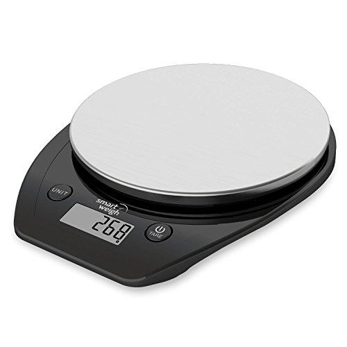 Smart Weigh 11 lb/15 kg Báscula Electrónica Multifuncional para Cocina y Alimentos, Plataforma de Acero Inoxidable, Gran Pantalla de LCD (Negro) width=