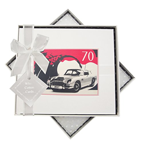 WHITE COTTON CARDS 70. Geburtstag, Gästebuch, Classic Car, weiß (White James Auto)