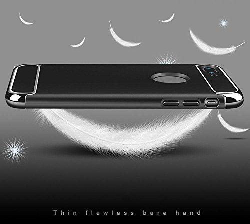 KOBWA IPhone 6 6S Hülle, 3-Teilige Styliche Extra Dünne Harte Galvanisieren Edge Case Schutzhülle für IPhone 6 6S Kratzfeste Rutschfeste Rundum Schutz Tasche Cover Rot Schwarz