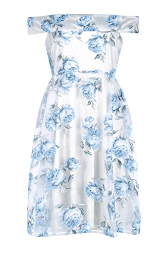 Bleu Katy Floral Organza Off The Shoulder Skater Dress Bleu