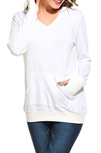 Beyove Damen Casual Kapuzensweatshirt Mit Kängurutasche Pullover Pulli Tunika Langarmshirt Hoodie Oversize Sweatshirt (EU 42(Herstellergröße: XL), Weiß) Weiß Terry Hoodie