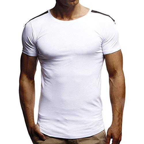 iLPM5 Männer Sommer Casual T-Shirt Neue Einfache Oansatz Solide Splice Lron Ring Lose Dünne Kurzarmhemd Mode Komfortable Bluse Tägliche Fitness Muscle Basic Top(Weiß, L)