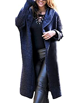 [Patrocinado]Luckycat Manga Larga de Mujer Color Puro Suéter Largo Suelto Rebeca con Capucha Outwear Prendas de Punto