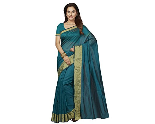 Ishin Poly Silk Blue Party Wear Wedding Wear casual Daily Wear Festive Wear Bollywood New Collection Woven with Zari Border Latest Design Trendy Women's Saree/Sari  available at amazon for Rs.399