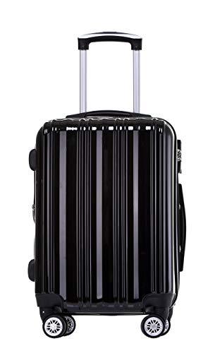 Münicase- Hartschalen Koffer Reisekoffer Trolley Rollkoffer Polycarbonat TSA-Schloß Kofferset Gepäckset (Schwarz, Mittler Koffer (ca.66cm))