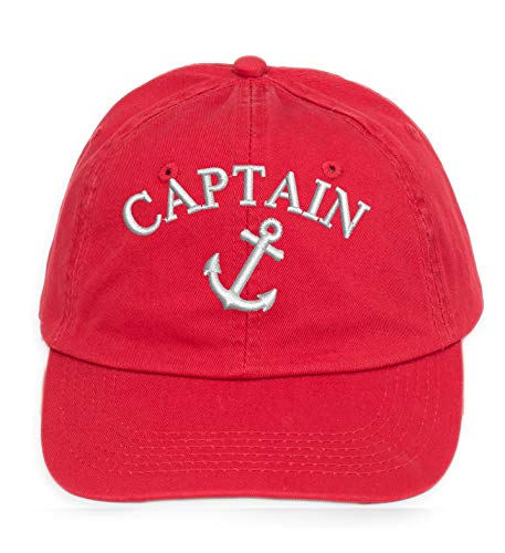 4sold 100% Cotton Ancient Mariner, Captain Cabin Boy Crew First Mate Yachting Baseballmütze Inschrift Schriftzug Schwarz Weiß rot Weiss (Anchor - Yachting Kostüm