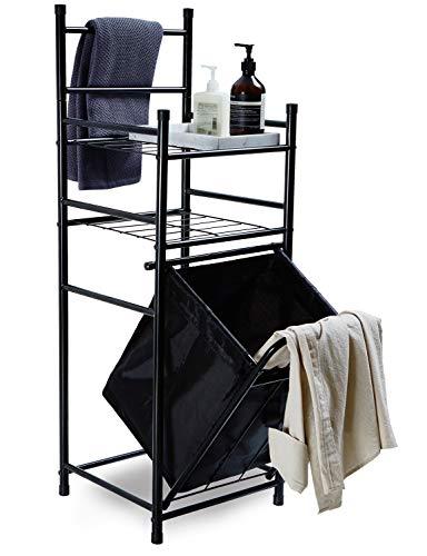 Suhu scaffale metallo bagno con cesto biancheria mensole ad angolo per terry scaffale ripostiglio moderno scaffale verticale a 2 ripiani in acciaio industriale nero
