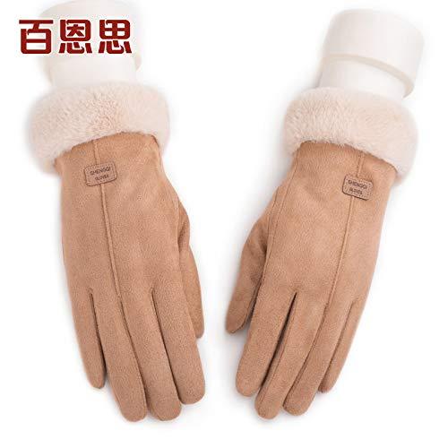 LybGloves Handschuhdamenwinter, der warme Finger des starken Touch Screen fünf Finger im Freien, eine Größe, Kamel reitet