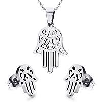Vnox Acciaio inossidabile mano di Hamsa Fatima Amuleto monili di argento collana e orecchini - Nativo Americano Del Turchese Orecchini