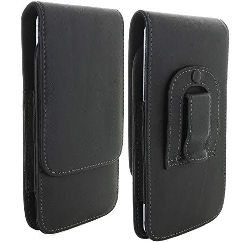 XiRRiX Handy Leder Gürteltasche 8.1 mit Stahlclip 4XL / Tasche passend für Samsung Galaxy A7 / A6+ / A8+ 2018 Serie/Mototorla Moto G7 - Handytasche schwarz
