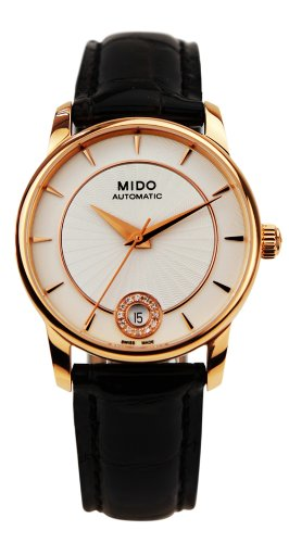 Mido Women's Baroncelli II Diamond 33mm Leather Band Gold Plated Case Automatic Watch M007.207.36.036.00