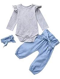 QinMM Neonato Bambino Ragazze Maniche Lunghe Top + Pantaloni + Set Completo  di Vestiti per Bambini 2ee8a191a8b