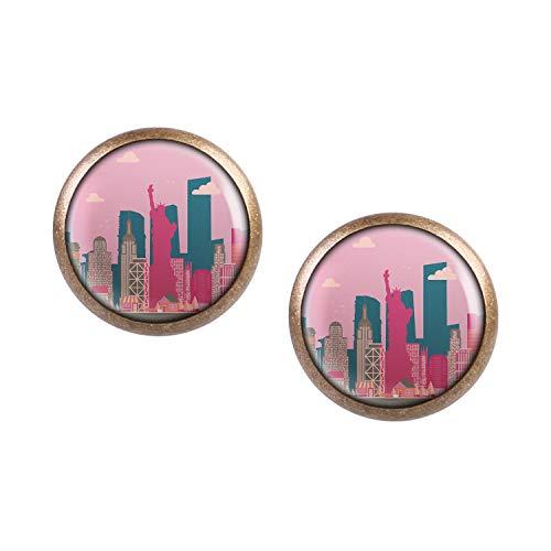 Mylery Ohrstecker Paar mit Motiv Skyline New York Big Apple Freiheits-Statue Empire State bronze 12mm
