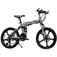 LETFF Bicicleta Plegable para Adulto de 20 Pulgadas de Velocidad Freno de Disco amortiguación Bicicleta de