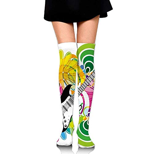 OQUYCZ Womens Hawaiian Abstract Composition with Colorful Leaves and Guitar Instrument Concision High Boot Socks