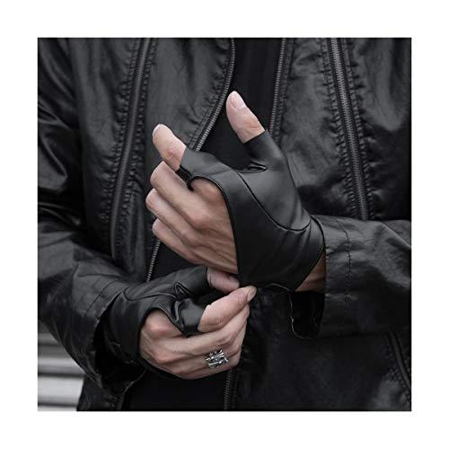 Herren Kurze Halbe Handschuhhandschuhe PU Dünnschliff Fingerlose Lokomotive Funktionslederhandschuhe Arbeitshandschuhe (Color : Black, Size : L)