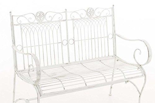 CLP Metall Gartenbank PURUSHA, 2-Sitzer, Landhaus-Stil, Eisen lackiert, Design nostalgisch Antik Weiß - 3