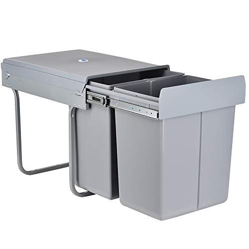 LENTIA Abfallsammler Abfalleimer Küchen Mülleimer Mülltrennsystem aus ABS Abfallbehälter Schrankbodenmontage 40L(20L+20L)
