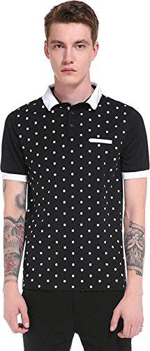 Sportides Herren Casual Dots Lapel Printing Short Sleeve Polo Shirt T_Shirt Tops JZA074 JZA074_Black