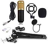 Kit microphone à condensateur BM-700 Support de bras pour ciseaux à suspension de studio Accessoires de microphone universels - Noir