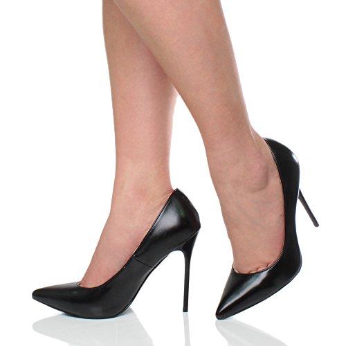 Femmes talon haut fête élégante escarpins de travail chaussures pointue taille Noir mat