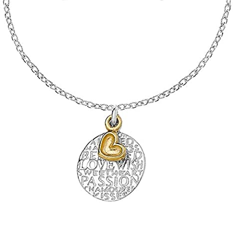 Dower & Hall Memento Sterling Silver Engraved Disc and Plated Dimple Heart Pendant on 45cm Trace Chain
